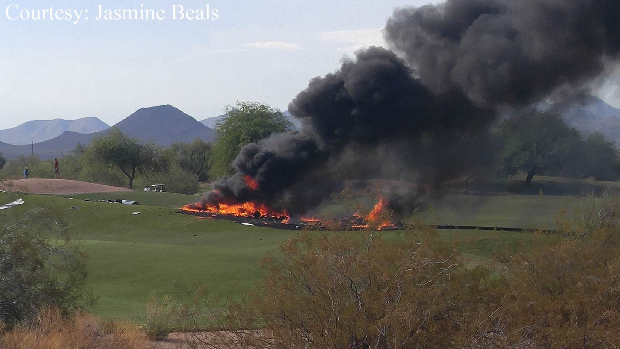 Two people were killed in a plane crash on a golf course in Mesa. (Source: Jasmine Beals)