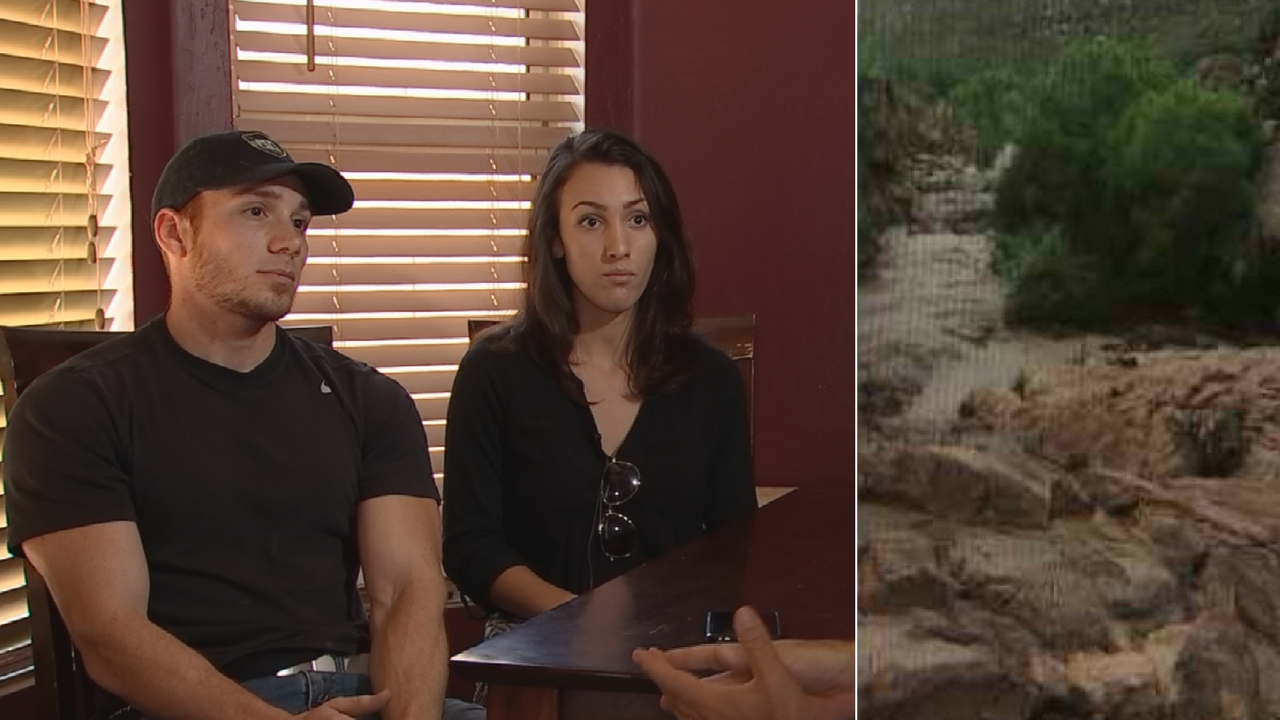 Ryan Trujillo and Nicole Smith recorded video of a flash flood north of Payson. (Source: 3TV/CBS 5)