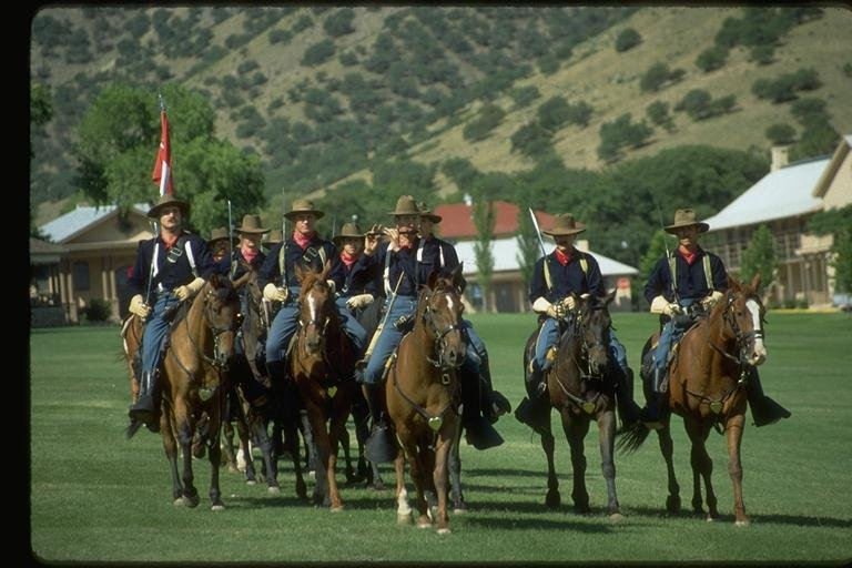 The cavalry soldiers of 'B Troop' reenact a charge. (17 July 2017) [Source: City of Sierra Vista]