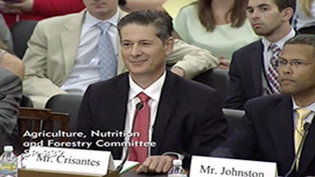 Wholesum Harvest's Theojary Crisantes Jr., in a screenshot from his Senate testimony, said regulators' debate on whether hydroponic farming can be considered organic has rattled the industry. (Source: Senate Agriculture Committee)