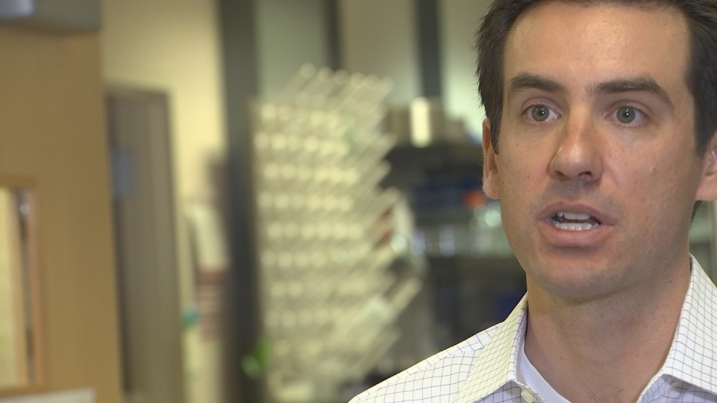 """""""Our product is actually unique in that it can be handled really easily by the surgeon and deployed through a robotic or minimally invasive procedure,"""" said Jordan Lancaster, Ph.D., Avery Therapeutics. (Source: 3TV/CBS 5)"""