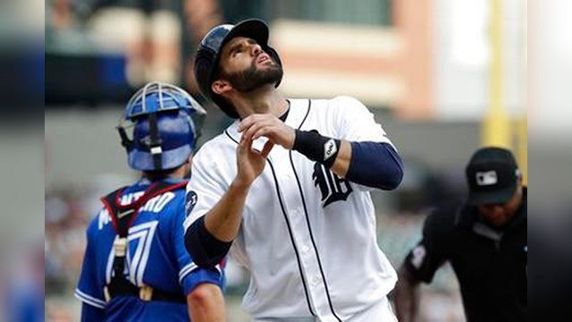 Detroit Tigers' J.D. Martinez looks skyward after rounding the bases after a solo home run during the eighth inning of a baseball game against the Toronto Blue Jays, Sunday, July 16, 2017, in Detroit. (AP Photo/Carlos Osorio)