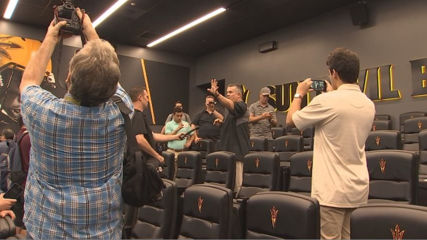 Todd Graham gives the first tour of the student-athlete facility to the media. (Source: 3TV/CBS 5)