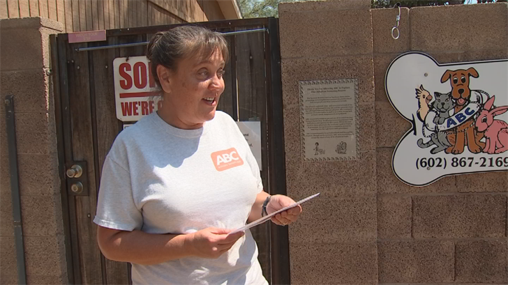 Jenn Cline helps take care of animals at the Animals Benefit Club of Arizona, a no-kill rescue and rehab shelter in Phoenix. (Source: 3TV/CBS 5)