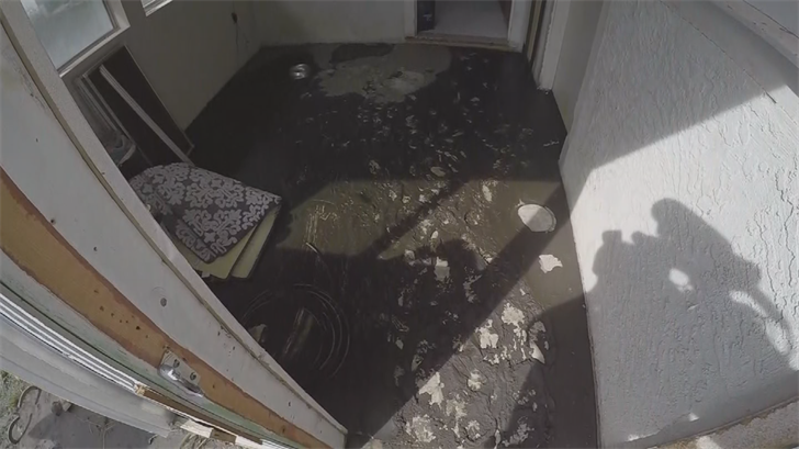The mud seeped into his house, causing thousands of dollars in damage. (Source: 3TV/CBS 5)