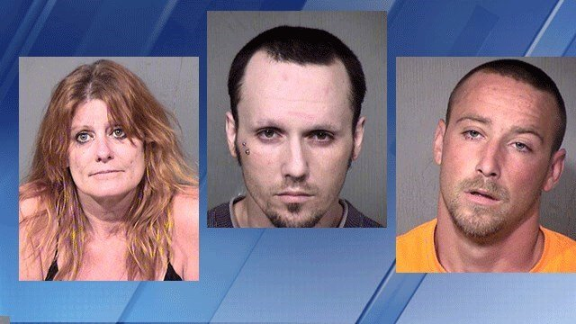 Kerrie J. Quaintance, 51, Kodi Bowe, 27, and  Maxx J. Bowe, 25 (Source: Maricopa County Sheriff's Office)