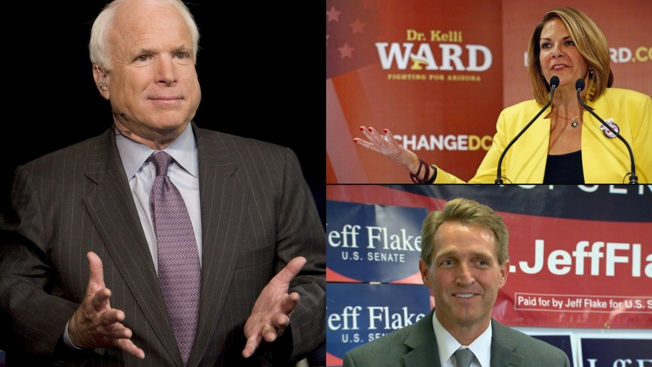 Sen. John McCain (left); Kelli Ward (top left); Sen. Jeff Flake (bottom right) (Source: 3TV/CBS 5)