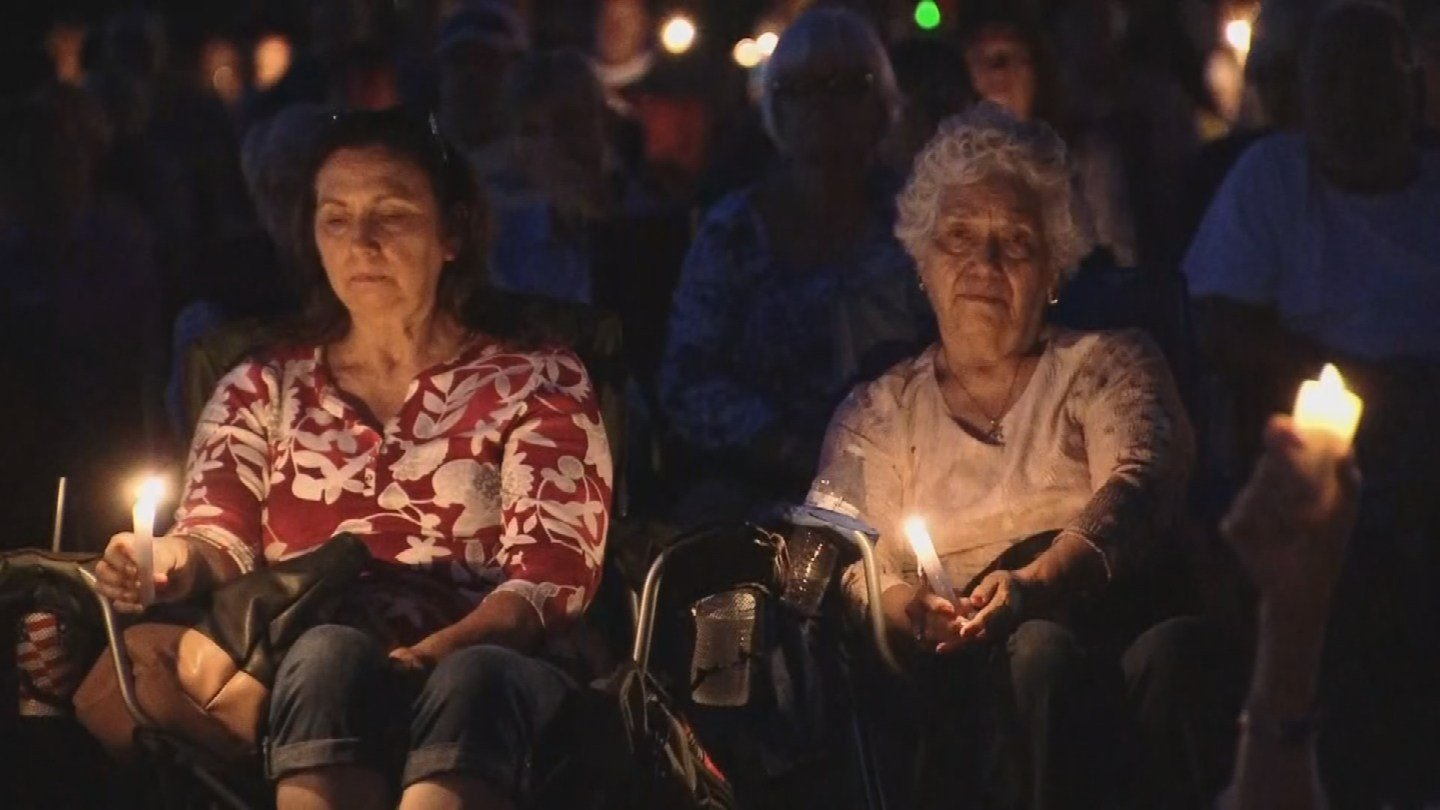 On Saturday night, Payson community members held a candlelight vigil in the memory of a family that died in a flash flood near Payson. (Source: 3TV/CBS 5)