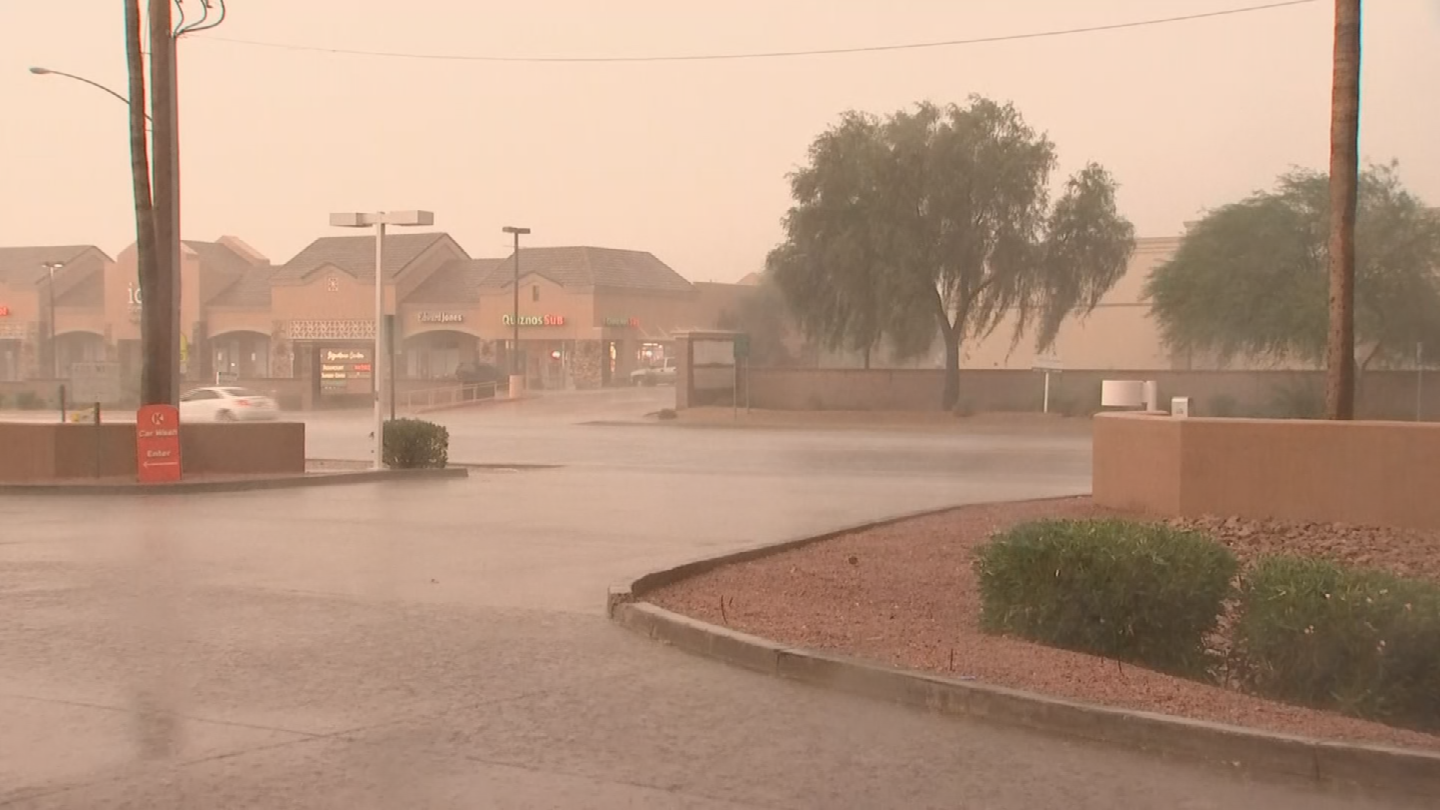 The rain in Mesa caught some people by surprise. (Source: 3TV/CBS 5)