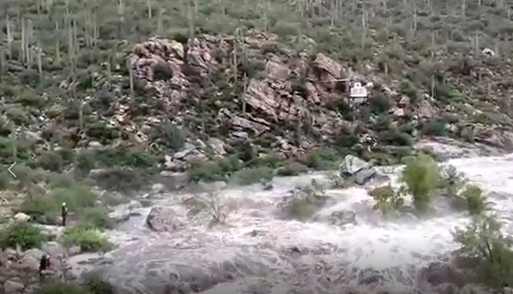 Crews were trying to rescue 9 people after 17 hikers were stranded Sunday, July 23, 2017 in Redington Pass near Tucson. (Source: 3TV/CBS 5)