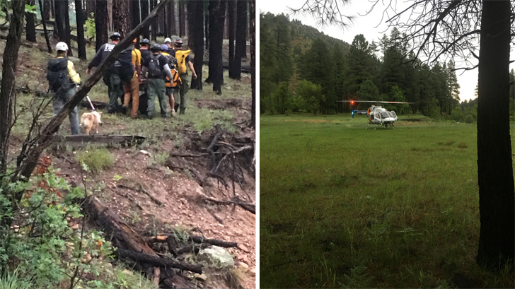 Search and rescue crews saved a fisherman who was fishing in Chevelon Canyon Lake and injured his ankle. (Source: Coconino County Sheriff's Office)