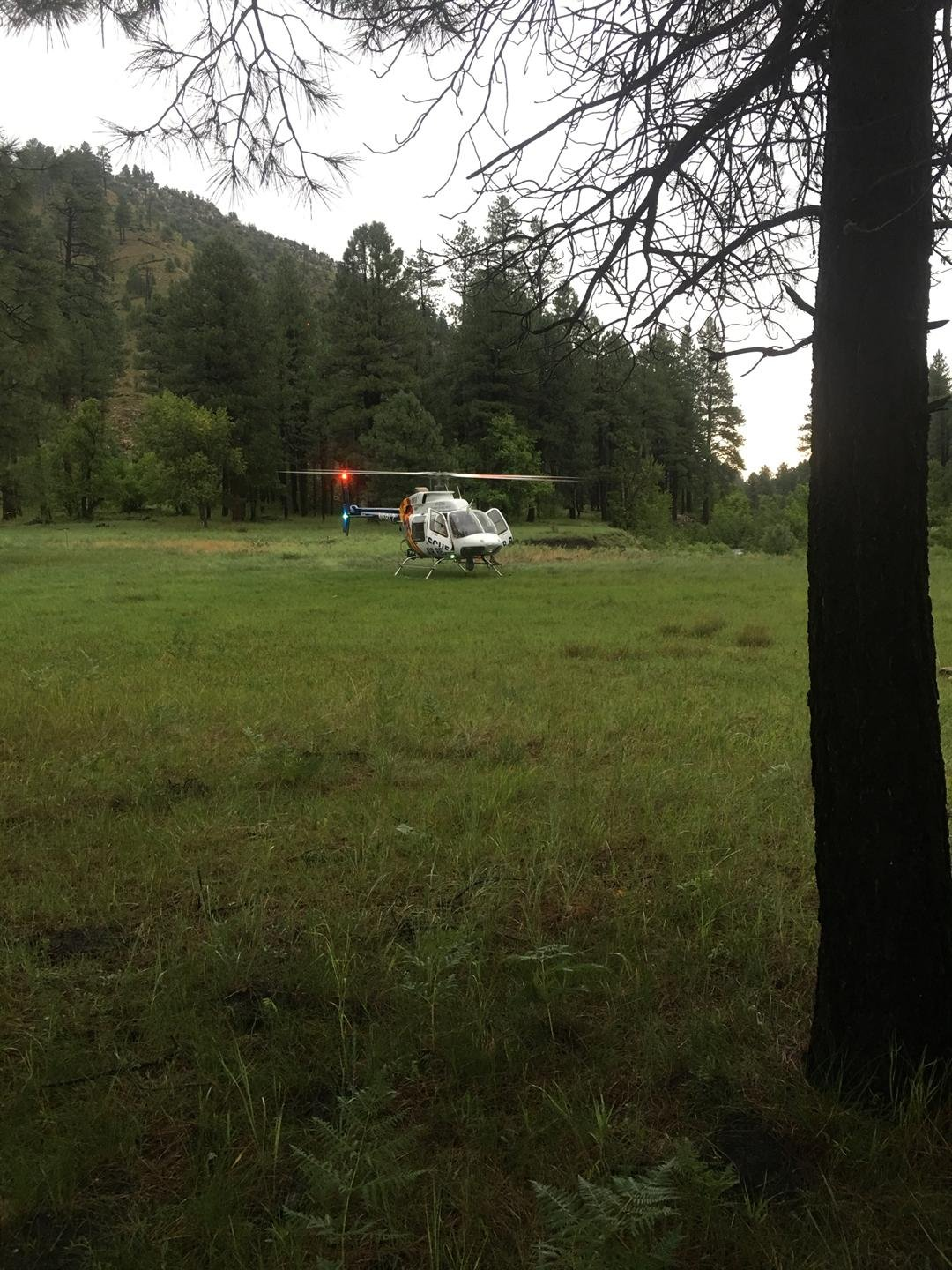 The Arizona Department of Public Safety Central Air Rescue unit retrieved the man in a nearby meadow at about 6:30 p.m. after the storms passed. (Source: Coconino County Sheriff's Office)