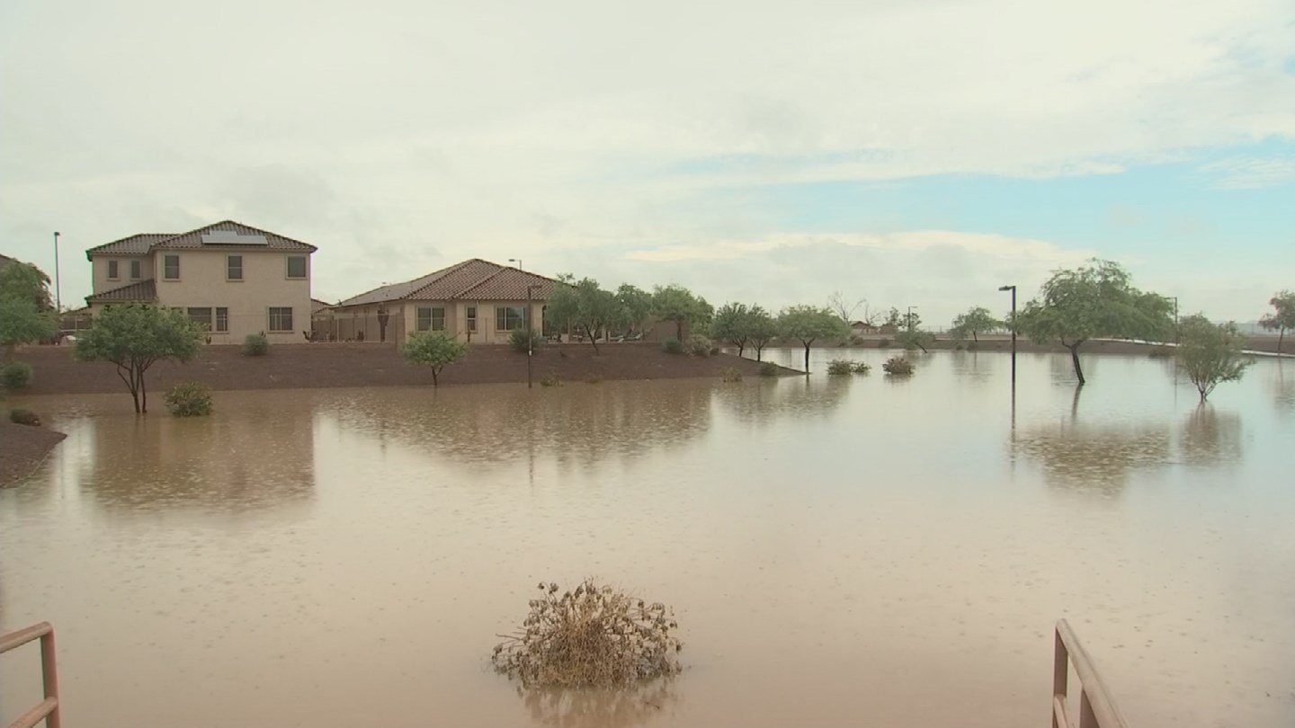 A Buckeye neighborhood is underwater after weekend storms. (July 24, 2017) [Source: 3TV/CBS 5]
