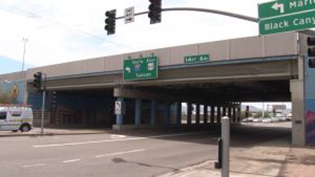 "The 19th Avenue bridge over Interstate-17, cited in a national safety report as ""structurally deficient,"" has since been repaired. (Source: Tyler Fingert/Cronkite News)"