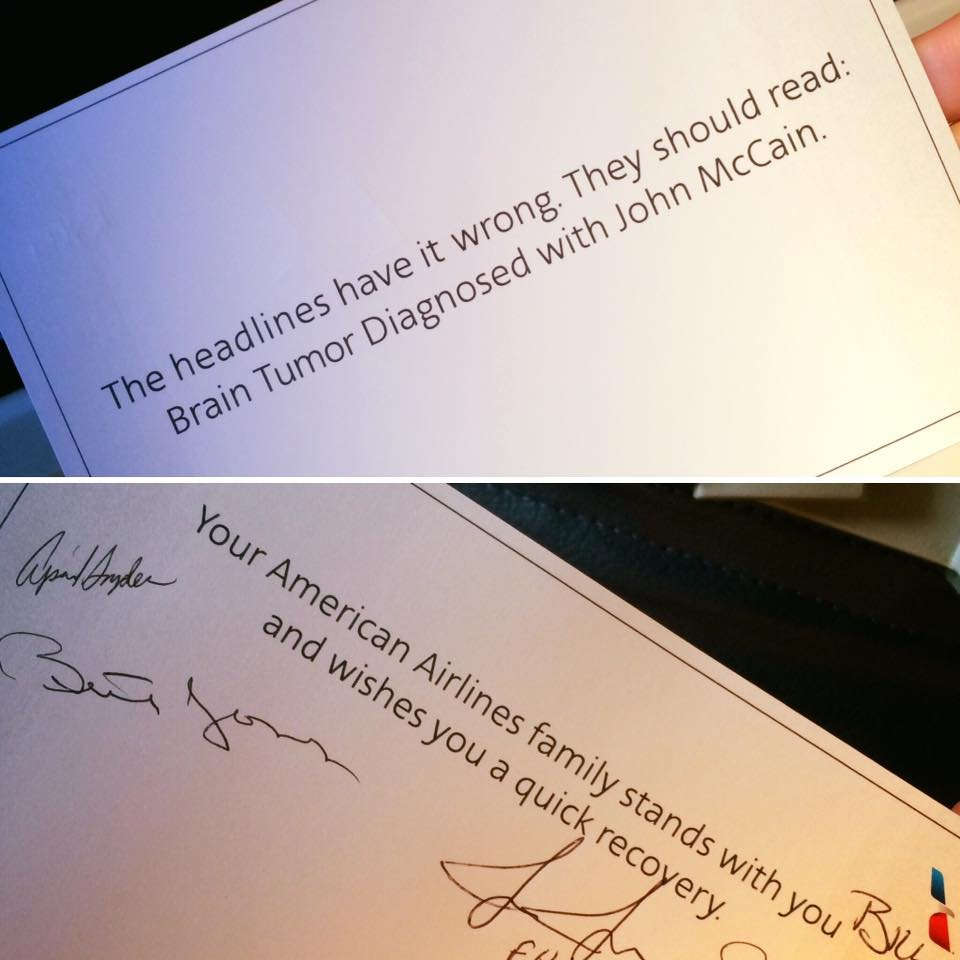 The get-well card was signed by several passengers on board, including politicians. (Source: Karen Barry/Facebook)