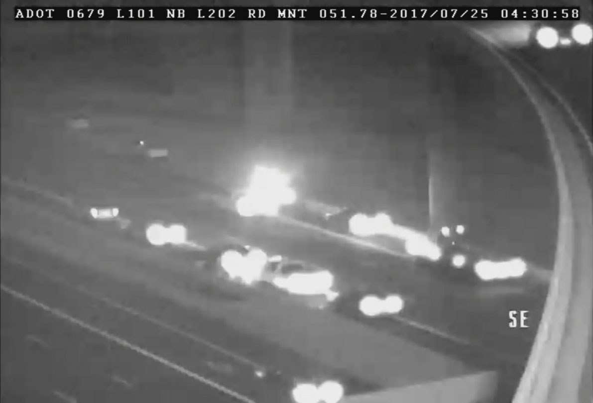 The Loop 202 westbound at Loop 101 was reopened at just after 5:40 a.m., according to the Arizona Department of Transportation. (Source: ADOT)