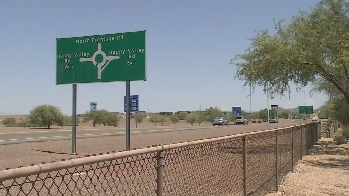 Roundabouts like one at Interstate 17 and Happy Valley Road were supposed to be a temporary fix, in place only until the state had enough money to overhaul the intersection. (Source: 3TV/CBS 5)