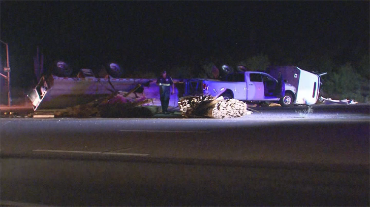 The semi-truck lost its load of lumber. (Source: 3TV/CBS 5)