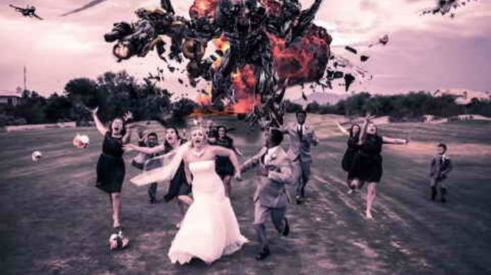 Well, you don't see a bride and groom running from a Transformer very often. (Source: Max Moments Photography)