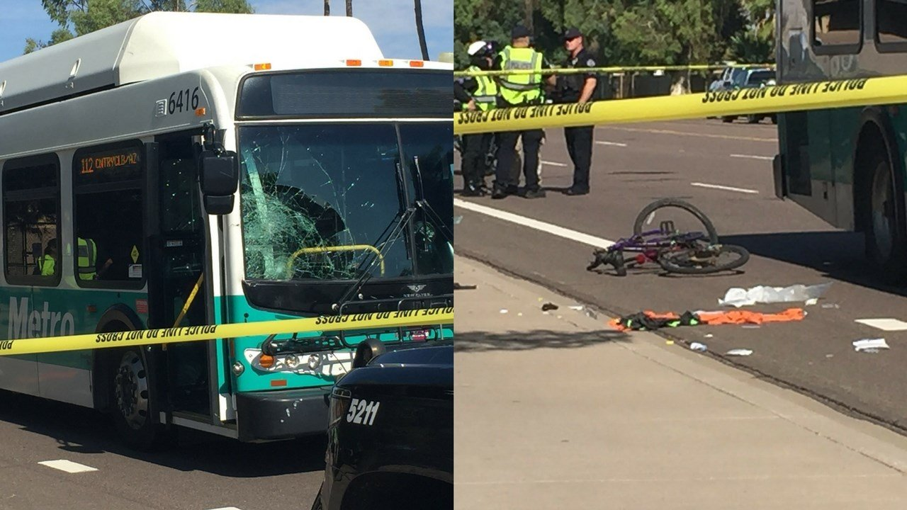 A bus and bicycle collided in Mesa on Wednesday morning near Country Club Drive and McKellips Road. (Source: 3TV/CBS 5)
