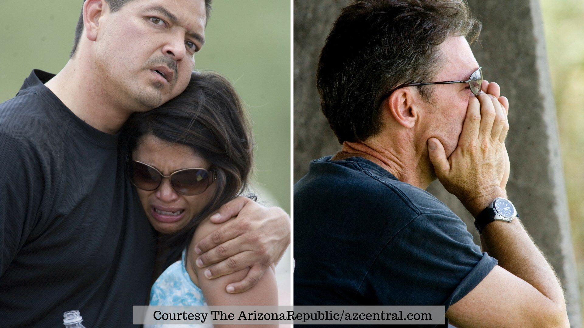 Covering those who cover the news: The Arizona Republic/azcentral.com captured the raw grief of 3TV photographer Adrian Campa, reporter Tess Rafols (left) and reporter Mike Watkiss, all of whom were at the scene that day. (Photos used with permission)