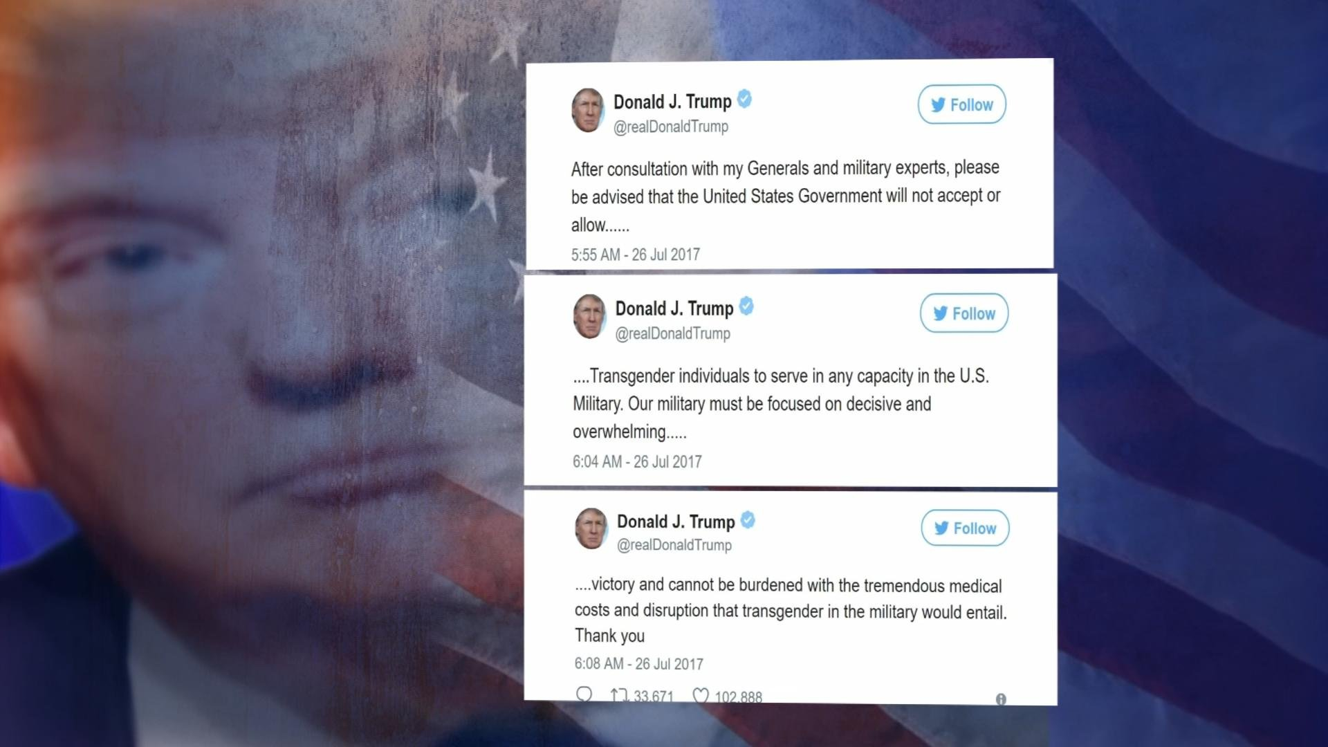 There may be thousands of transgender service members currently on active duty. In just three tweets, the President has put the future of their service in question. (Source: 3TV/CBS 5)