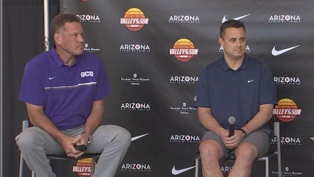 Sean Miller and Dan Majerle discuss the Valley of the Sun Shootout. (Source: 3TV/CBS 5)