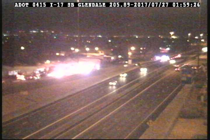 The northbound I-17 off-ramp at Glendale Avenue will be closed for an extended period of time while officers investigate the crash. (Source: 3TV/CBS 5)