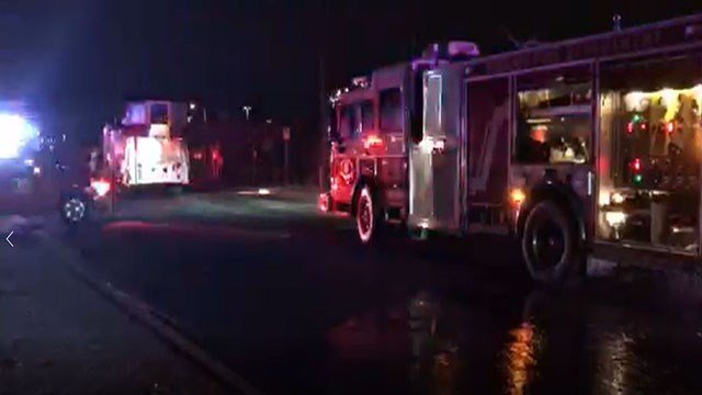 A large amount of debris caught fire at a granite slab manufacturing business late Thursday night. (Source: Phoenix fire)