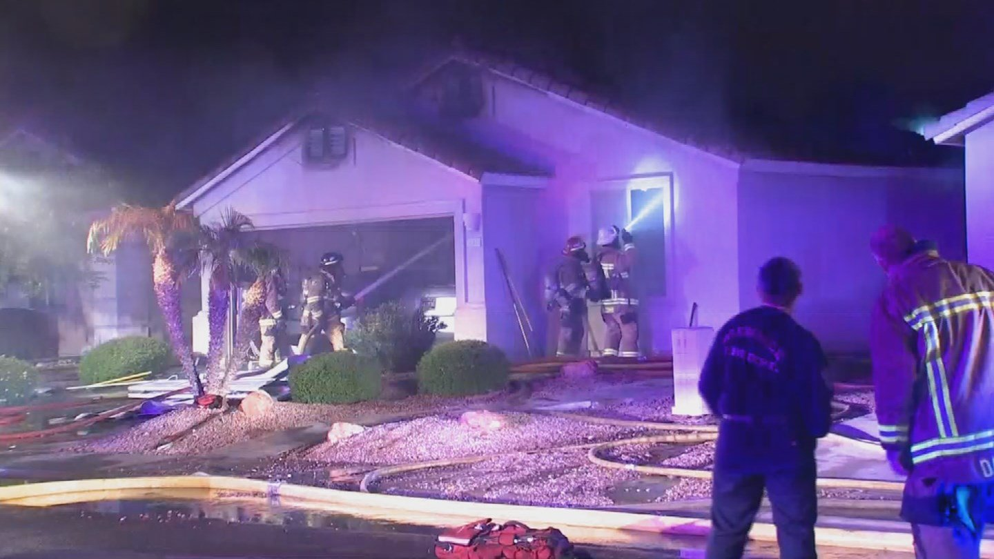 A young couple can count themselves lucky after their house caught fire overnight, causing their roof to collapse in Surprise. (Source: 3TV/CBS 5)