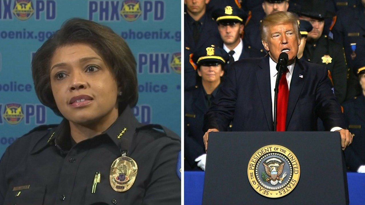 Phoenix Police Chief Jeri Williams took exception to remarks President Donald Trump made on the treatment of criminal suspects. (Sources: 3TV/CBS file photo and CNN)