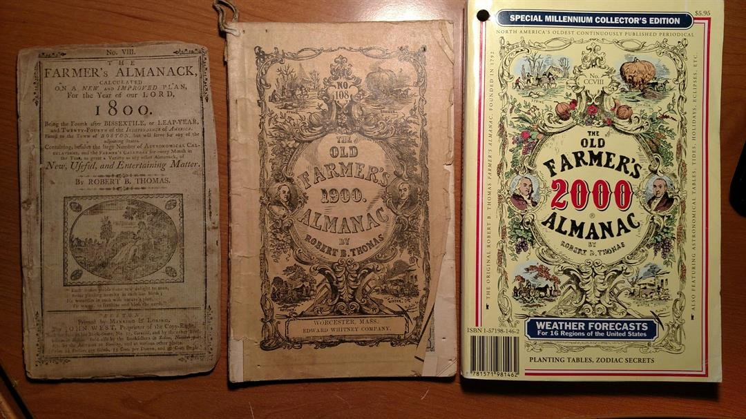 The 1700, 1800 and 1900 annual almanacs. (Source: Royal Norman)