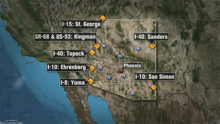 A map of where the Drivewyze Preclear system will be available at checkpoints. (Source: 3TV/CBS 5)