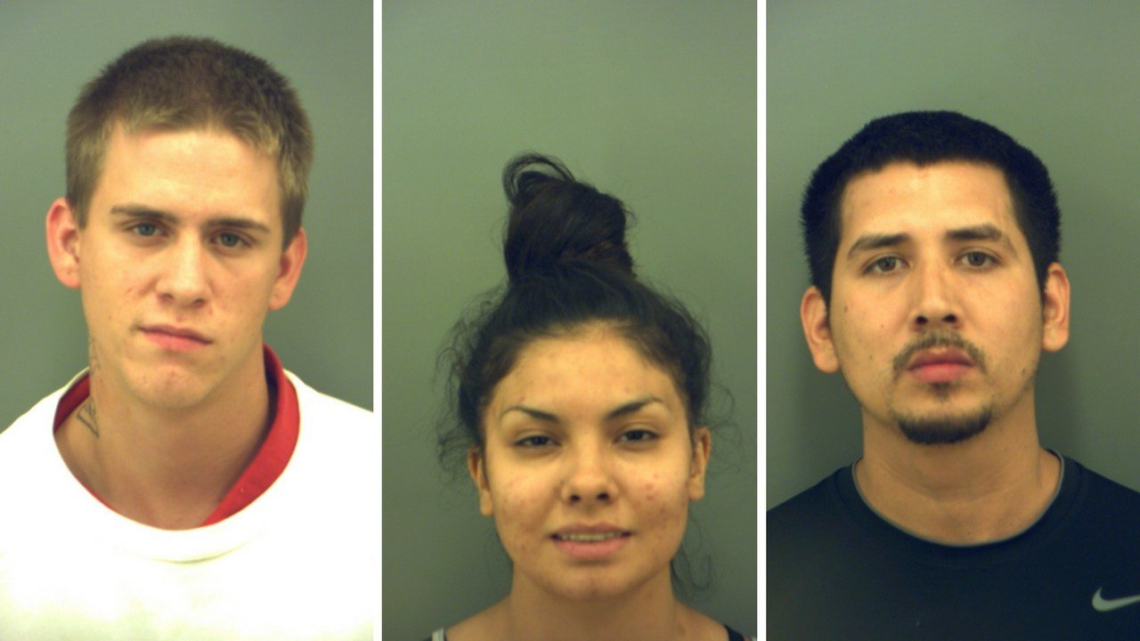 Mugshots left to right, Clark Lee Wylie, Tiffany Van Nest and Jesus Alonso Gomez (Source: El Paso Police Department)