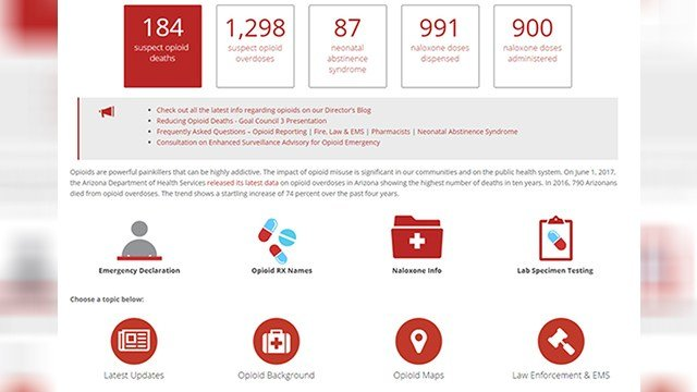 The Arizona Department of Health Services created a new dashboard about possible opioid overdoses and deaths that have been reported to the agency since June 15. (Source: azdhs.gov)
