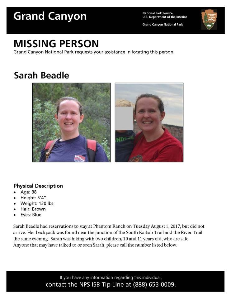 Grand Canyon National Park released this flyer for the missing woman. (Source: Grand Canyon National Park)