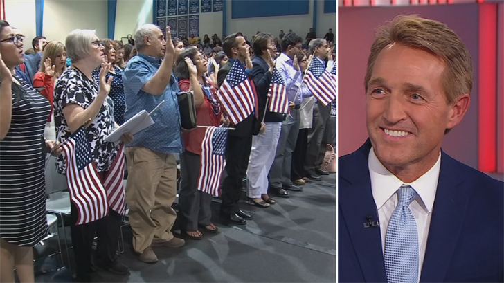 Sen. Jeff Flake doesn't think a Republican bill curbing immigration is a good idea. (Source: CNN/CBS 5/3TV)