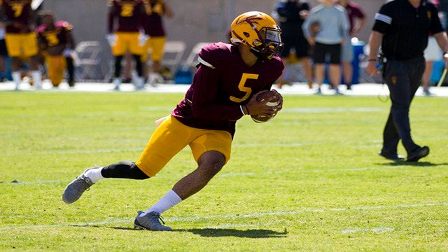 Arizona State quarterback Manny Wilkins has the starting job for now. (Source: Josh Orcutt/Cronkite News)