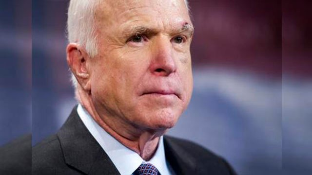 Sen. John McCain, while undergoing cancer treatment, is spending the congressional recess at Diamondback's games, with his family, and attending a forum in Italy.