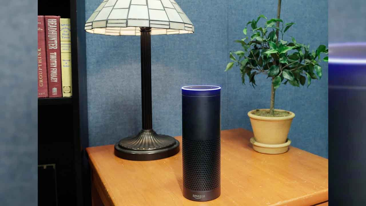 Amazon's Echo, a digital assistant that can be set up in a home or office to listen for various requests, such as for a song, a sports score, the weather, or even a book to be read aloud, was shown, July 29, 2015. (Source: AP Photo/Mark Lennihan)