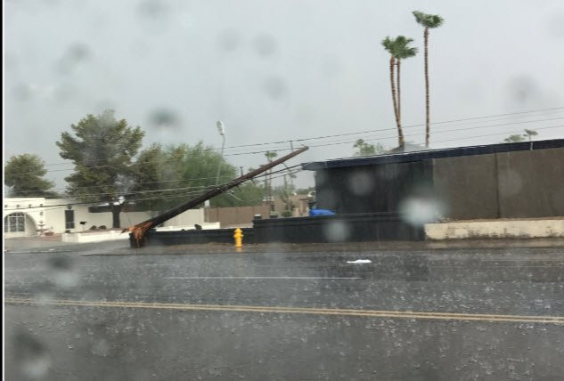 Power poles down near 36th Street and Shea (Source: Viewer photo)
