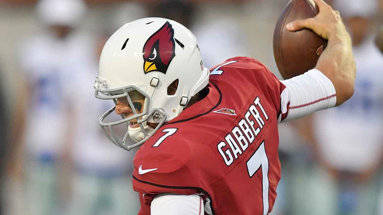 Arizona Cardinals quarterback Blaine Gabbert loses his balance while being sacked during the first half of the Pro Football Hall of Fame NFL preseason game against the Dallas Cowboys in Canton, Ohio, Thursday, Aug. 3, 2017. (Source:AP Photo/David Richard)