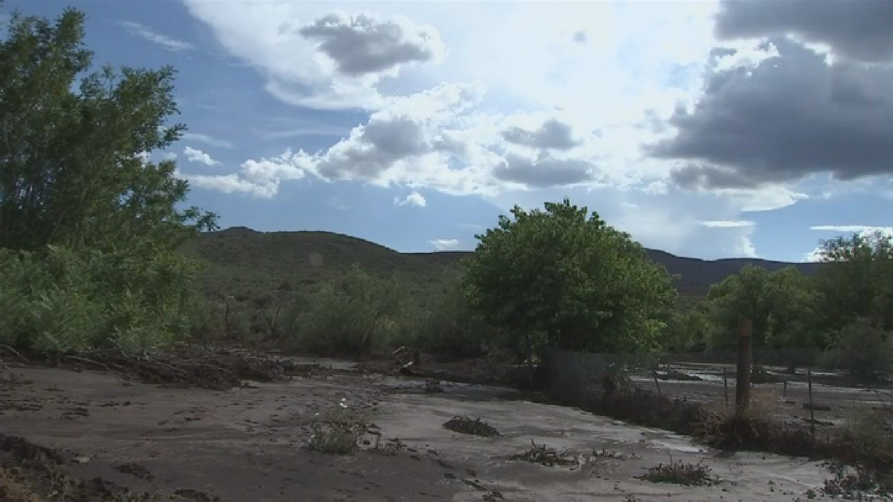 Flooding in Mayer on July 19 after heavy monsoon rain. (Source: 3TV/CBS 5)