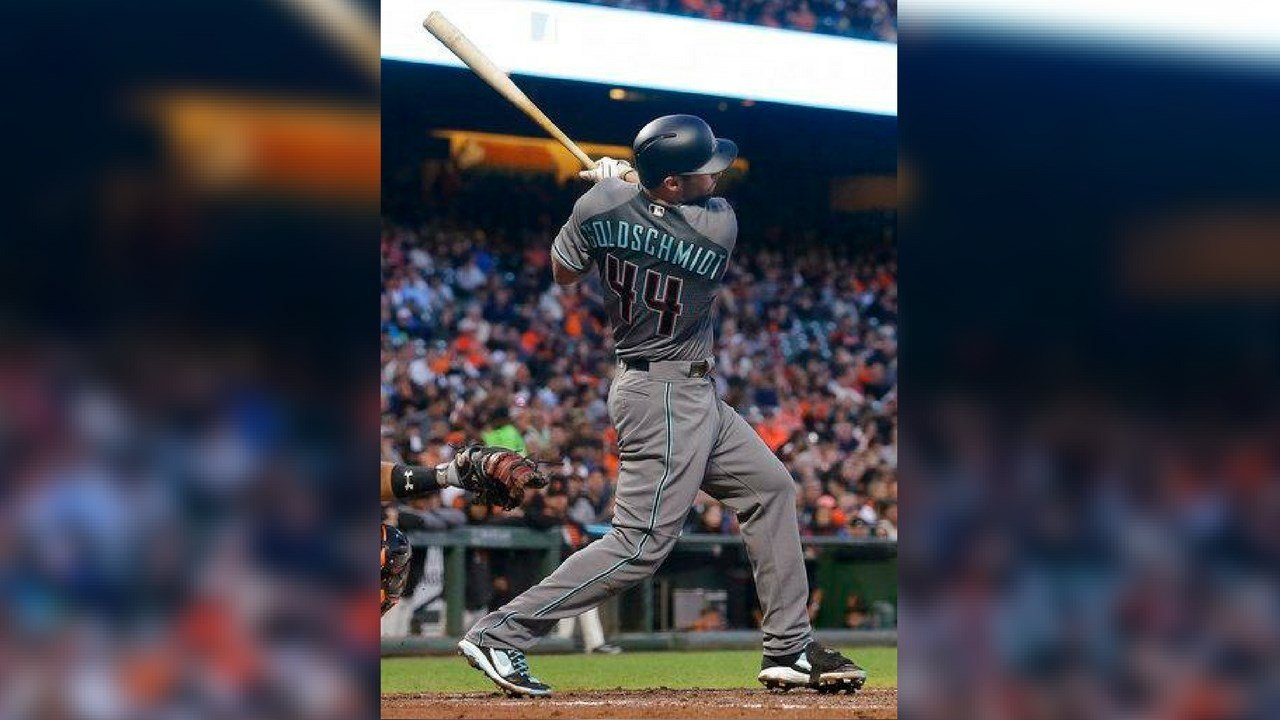 Arizona Diamondbacks' Paul Goldschmidt hits an RBI triple against the San Francisco Giants during the fourth inning of a baseball game in San Francisco, Friday, Aug. 4, 2017. (AP Photo/Jeff Chiu)