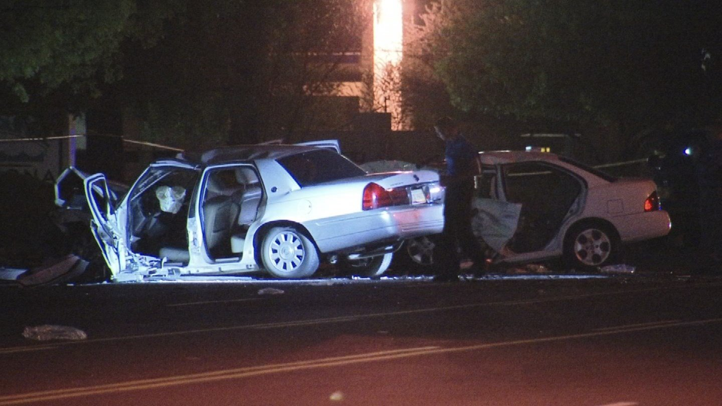 Police said the suspected male drunk driver, who had a passenger in his vehicle, was driving westbound on Thomas Road when he crossed the median for unknown reasons, striking a car with two females head on. (Source: 3TV/CBS 5)