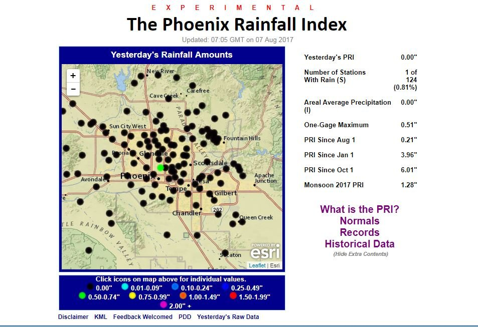 Here's the Phoenix Rainfall Index Map provided by the National Weather Service.