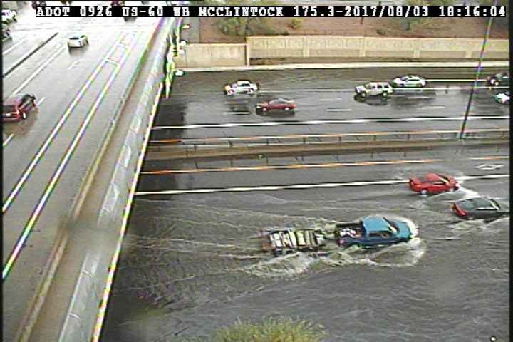 "US 60 flooded on August 3, 2017 at McClintock after nearly 2"" of rain"