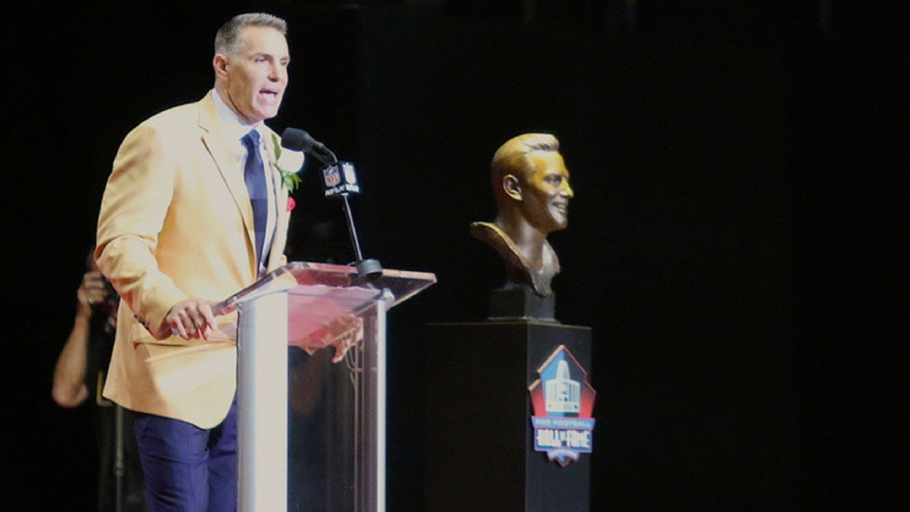 Kurt Warner delivers his induction speech on Saturday during the Pro Football Hall of Fame Induction Ceremony. (Photo by Eddie Poe/Cronkite News)