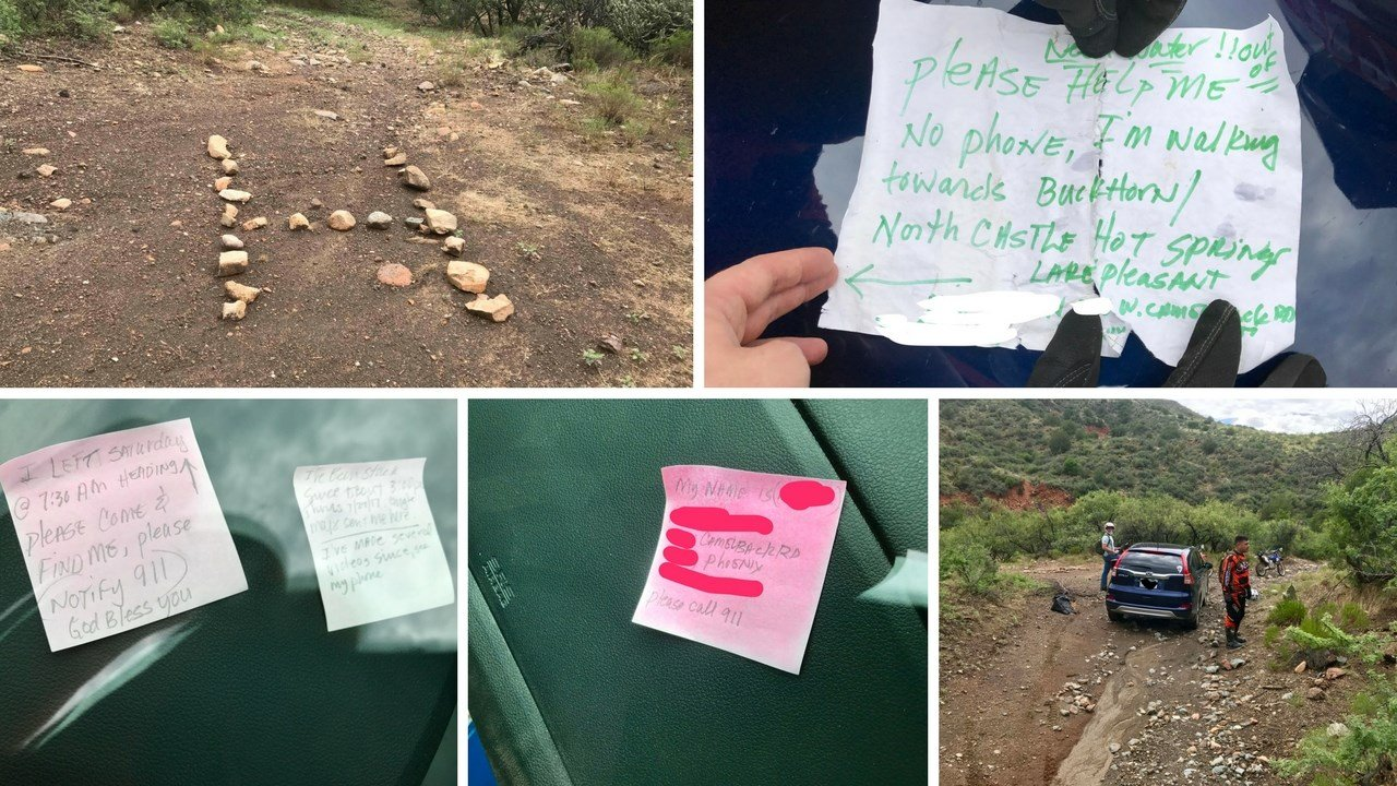 When Mick Ohman hiked out for help, he left messages in his car in case help arrived when he was away. (Photos courtesy: Andrew Austin)