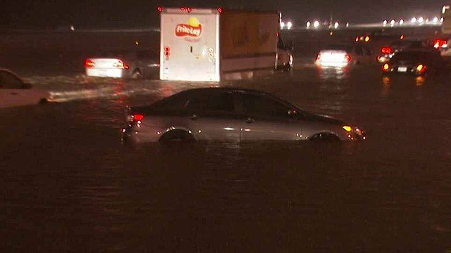 A hurricane in 2014 forced schools to close and vehicles were flooded on freeways in the Valley. (Source: 3TV/CBS 5)